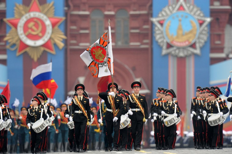 May 9, 2012: Young musicians, students of Russian military boarding school, march to open the Victory Day parade at the Red Square in Moscow. (Kirill Kudryavtsev/AFP/Getty Images)