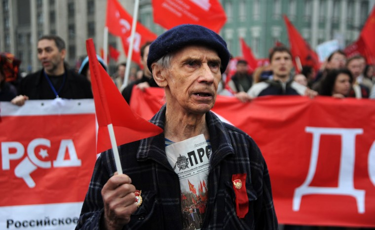 May 9, 2012: Communist party members and supporters march in central Moscow as they celebrate Victory Day. (Andrey Smirnov/AFP/GettyImages)