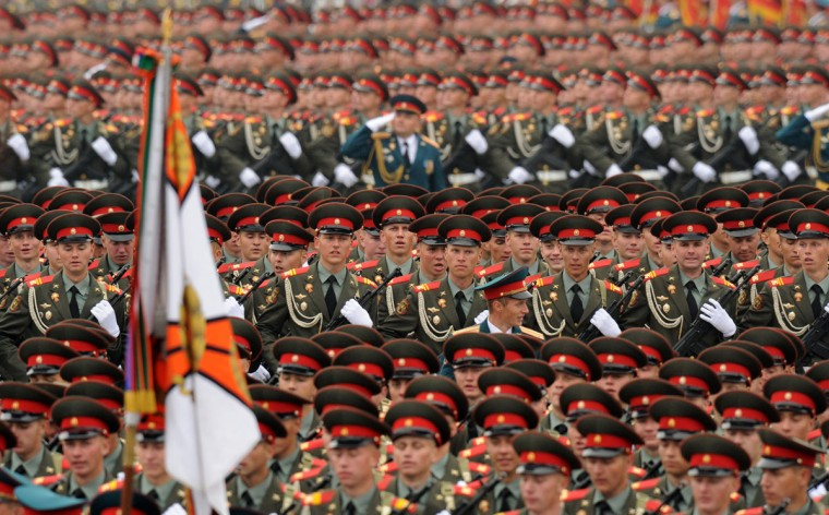 May 9, 2012: Russian soldiers march at the Red Square in Moscow during Victory Day parade. (Kirill Kudryavtsev/AFP/Getty Images)