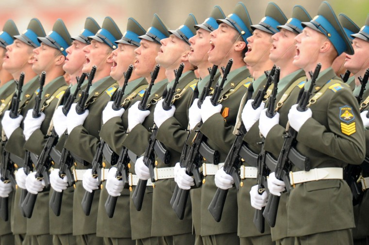 """May 9, 2012: Russian soldiers shout """"Hurra"""" at the Red Square in Moscow during Victory Day parade. (Kirill Kudryavtsev/AFP/Getty Images)"""