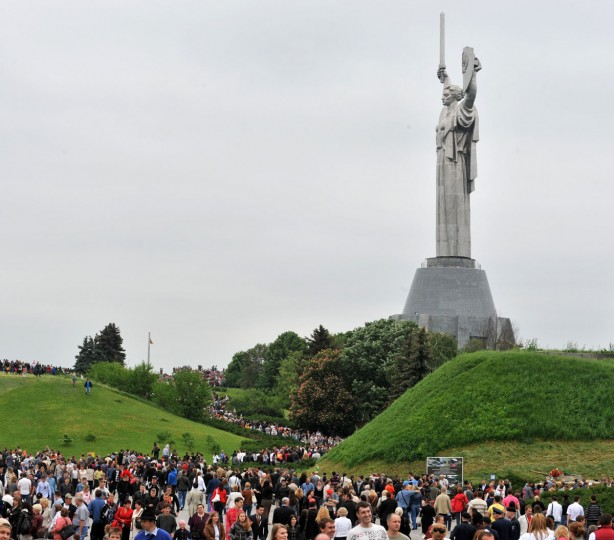May 9, 2012: People gather to mark Victory Day at the WWII open air museum in Kiev, Ukraine. (Sergei Supinsky/AFP/GettyImages)
