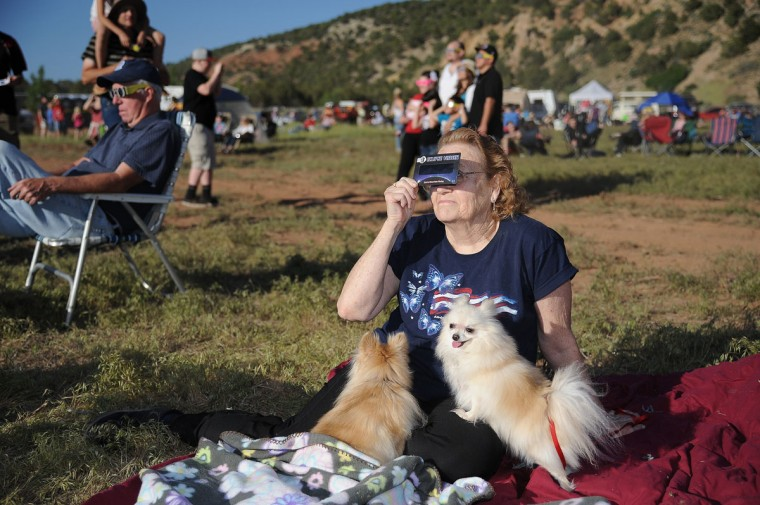 Peggy Pennington watches the annular eclipse with her dogs Sasha (R) and Foxy Lady (L), in Kanarraville, Utah. (Robyn Beck/AFP/Getty Images)