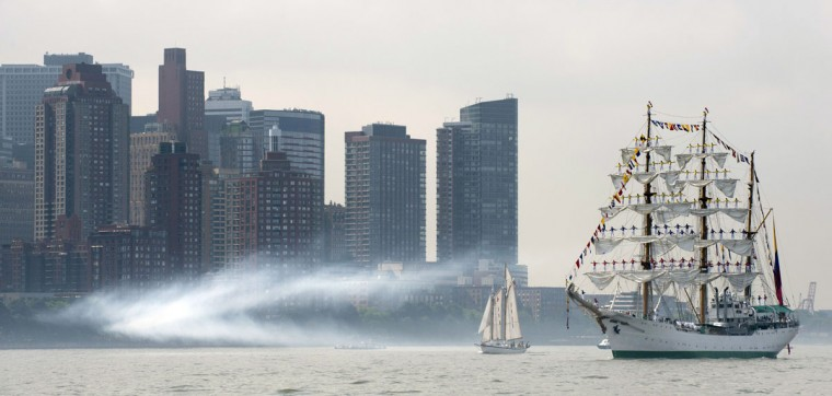 The tall ship from Colombia, the Gloria, sails past Manhattan May 23, 2012 in New York. The tall ship is participating in Fleet Week events in New York. (Don Emmert/AFP/Getty Images)