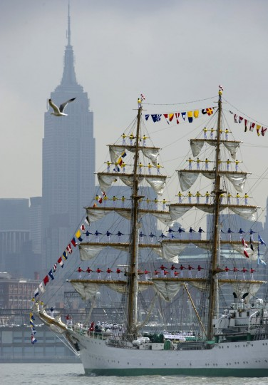 The tall ship from Colombia, Gloria, sails past the Empire State Building May 23, 2012 in New York. The tall ship is participating in Fleet Week events in New York. (Don Emmert/AFP/Getty Images)