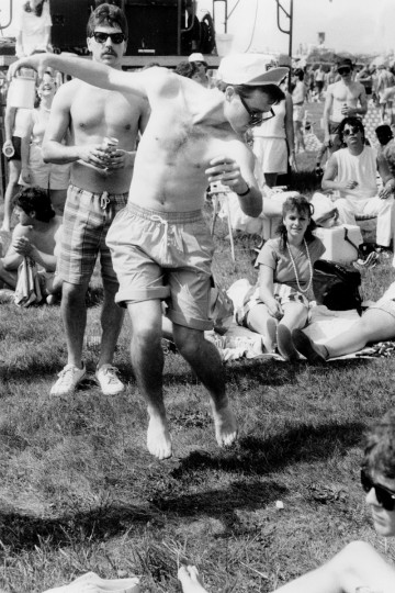 Eric Waterman dances in the infield at the 1986 Preakness Stakes. (Gene Sweeney Jr./Baltimore Sun)