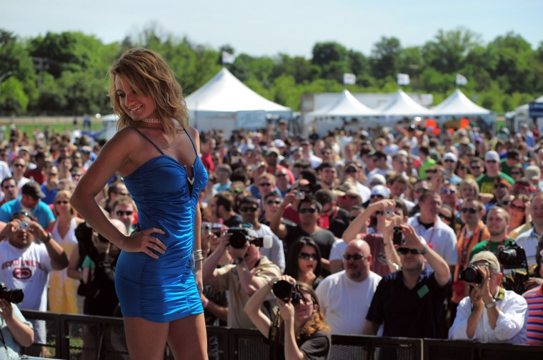 Beauty contestant Trisha Benton of Baltimore poses during the 135th Preakness festivities at Pimlico Race Course in 2010. (Karl Merton Ferron/Baltimore Sun)