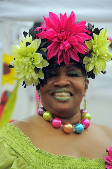 Bobbie McKinney of Edmondson Village waits to participate in the Grand Hat Contest at Baltimore's FlowerMart 2012. (Karl Merton Ferron / Baltimore Sun Staff)