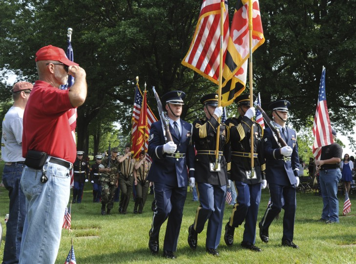 Color Guards open the Memorial Day 2012 Observance to honor those fallen in the line of duty. The ceremony was held at the Circle of Immortals at Dulaney Valley Memorial Gardens. (Algerina Perna/Baltimore Sun)