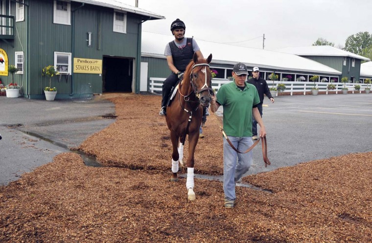 Johnny Garcia, exercise rider, aboard and Kentucky Derby winner I'll Have Another and Benjamin Perez leave the Stakes Barn at Pimlico Race Course and head for the track. (Kim Hairston/Baltimore Sun)