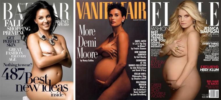 The August 1991 Vanity Fair cover with a very pregnant Demi Moore (C) was voted the second best magazine cover from the last 40 years by the American Society of Magazine Editors in 2005. (AP Photo/Magazine Publishers Assn and American Society of Magazine Editors) A pregnant Britney Spears (L) nearly bares all on the cover of the August 2006 issue of Harper's Bazaar. (Alex Lubomirski/Harper's Bazaar) A pregnant Jessica Simpson takes a page from Demi Moore's celebrity playbook on the cover of the April 2012 issue of Elle magazine. (Hearst Magazines/Reuters)