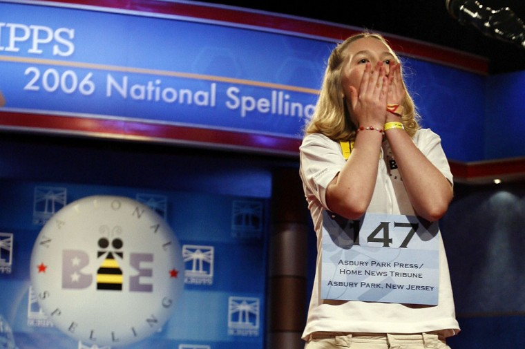 "June 1, 2006: Katharine Close, 13, of Spring Lake, New Jersey, reacts after winning the 2006 Scripps National Spelling Bee in Washington, DC. Katharine won after spelling the word ""Ursprache."" She is the first female winner of the bee since 1999. (Chip Somodevilla/Getty Images)"