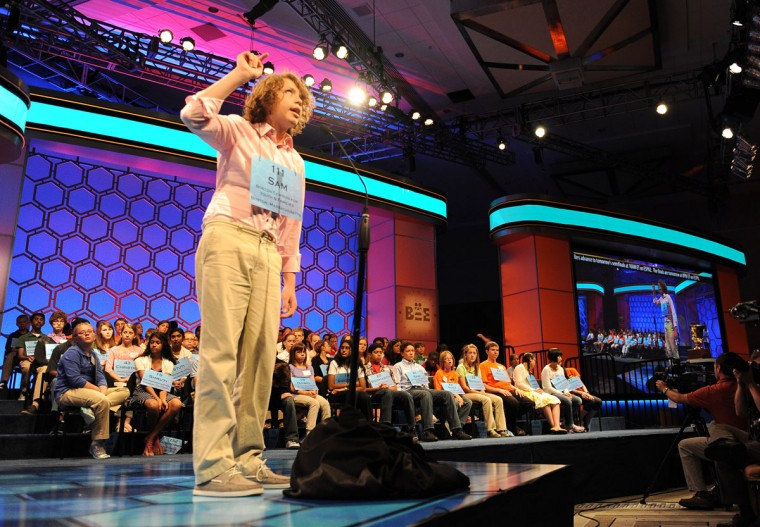 May 30, 2012: Sam Lowery, of Charlestown, Massachusetts, works out a word in the air during the 2012 Scripps National Spelling Bee in National Harbor, Maryland. (Chuck Myers/MCT)