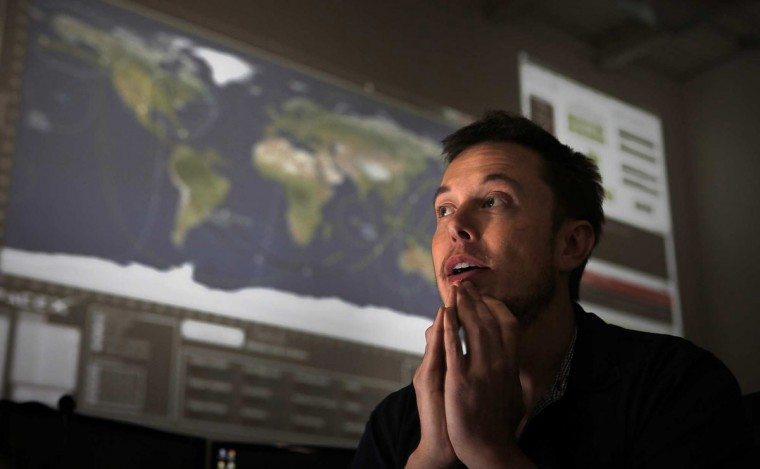 April 19, 2012: CEO Elon Musk ponders about the launch to the International Space Station in the mission control room at the Hawthorne, California-based Space Exploration Technologies Corp. If successful, it will be the first time a private company will dock with the International Space Station. (Brian van der Brug/Los Angeles Times/MCT)