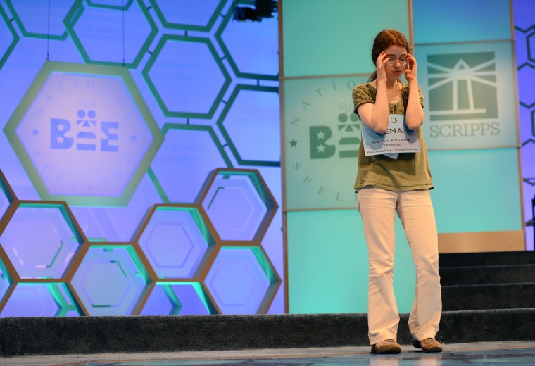 May 30, 2012: Lena Greenberg of Philadelphia, Pennsylvania, tries to calm her nerves before competing at the 2012 Scripps National Spelling Bee in National Harbor, Maryland. (Chuck Myers/MCT)