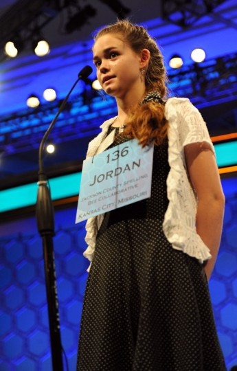 May 31, 2012: Finalist Jordan Hoffman of Kansas Ctiy, Missouri competes in the semifinals of the 2012 Scripps National Spelling Bee in National Harbor, Maryland. (Chuck Myers/MCT)