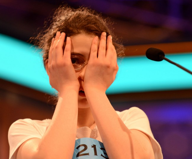 "May 31, 2012: Lena Greenberg of Philadelphia, Pennsylvania, reacts after misspelling ""geistlich"" during the final rounds of the 2012 Scripps National Spelling Bee in National Harbor, Maryland. (Chuck Myers/MCT)"