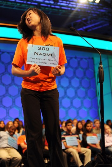"May 30, 2012: Naomi W. Li of Cente Vvalley, Pennsylvania, rejoices after correctly spelling ""eremic"" at the 2012 Scripps National Spelling Bee in National Harbor, Maryland. (Chuck Myers/MCT)"