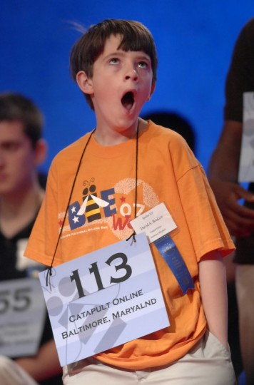 "May 30, 2007: David Brokaw, 11, of Baltimore, a sixth grader at Friends School, yawns as he awaits his turn on stage to spell. He correctly spelled ""marathon"" in the preliminary round of the 2007 Scripps National Spelling Bee that morning. (Amy Davis/Baltimore Sun)"
