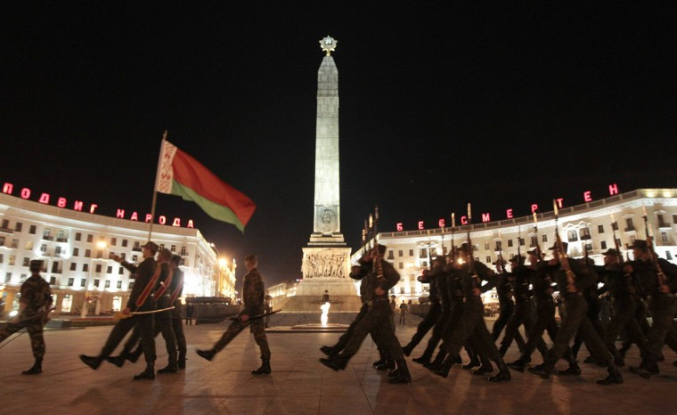 May 2, 2012: Belarusian soldiers take part in a rehearsal for the Victory Day parade in central Minsk May 2, 2012. Belarus celebrates the Soviet Union's victory over Nazi Germany on May 9. (Vasily Fedosenko/Reuters)