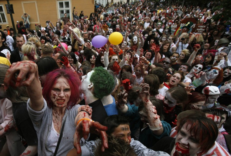 Zombies in Prague... Enthusiasts dressed as zombies take part in a ZoZombies in Prague... Enthusiasts dressed as zombies take part in a Zombie Walk procession in Prague. (David W Cerny/Reuters)mbie Walk procession in Prague(David W Cerny/Reuters)