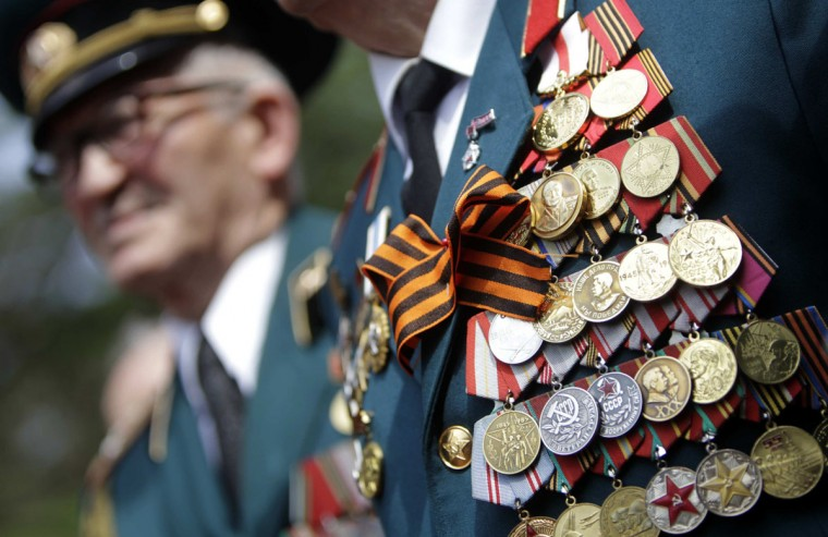 May 9, 2012: A World War Two veteran wears orders during a Victory Day celebration in Tbilisi, Georgia. celebrates the 67th anniversary of victory over Nazi Germany on Wednesday. (David Mdzinarishvili/Reuters)
