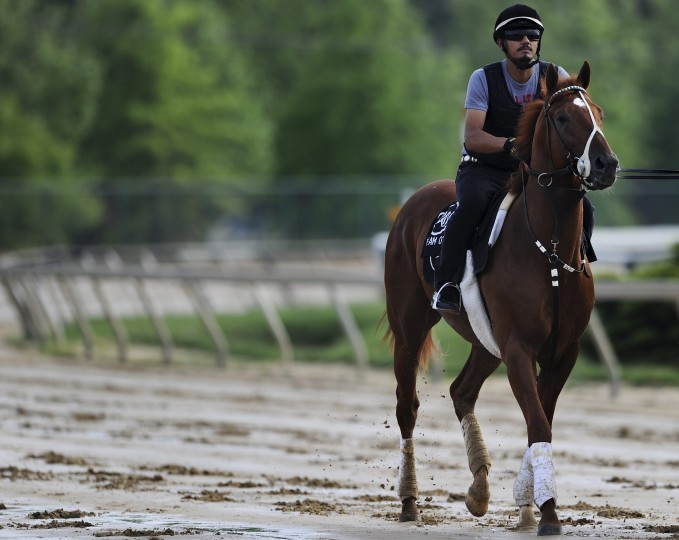 Kentucky Derby winner I'll Have Another is walked by exercise rider Johnny Garcia at Pimlico Race Course in Baltimore, Maryland, May 9, 2012. (Patrick Smith/Reuters)