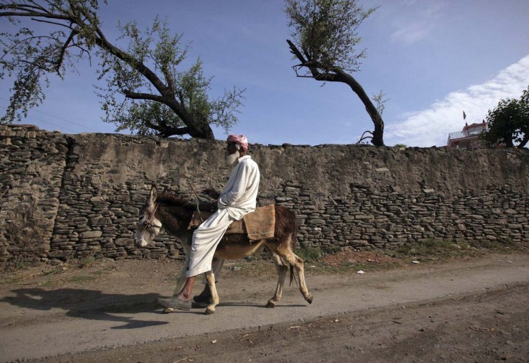 An elderly man rides a donkey along a road on the outskirts of Abbottabad April 20, 2012, the town where Osama bin Laden was killed a year ago. (Akhtar Soomro/Reuters)