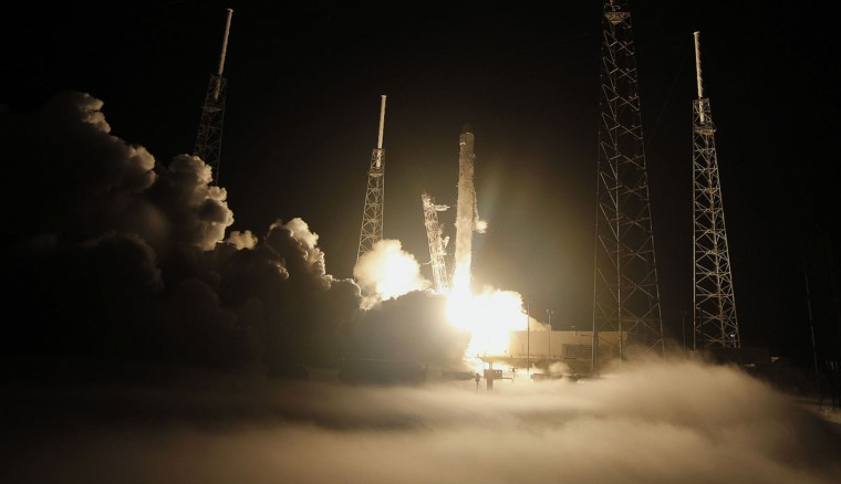 May 22, 2012: The SpaceX Falcon 9 test rocket lifts off from Space Launch Complex 40 as ground fog covers the pad at the Cape Canaveral Air Force Station, Florida. The 178-foot (54-meter) tall Falcon 9 rocket lifted off at 3:44 a.m. (0744 GMT) from a refurbished launch pad just south of where NASA launched its now-retired space shuttles. (Pierre DuCharme/Reuters)
