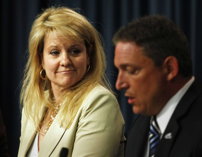 May 19, 2012: SpaceX Pesident Gwynne Shotwell (L) and Alan Lindenmoyer, Manager of NASA Commercial Crew & Cargo Program, speak at a news conference at Kennedy Space Center in Cape Canaveral, Florida. The launch of a privately owned Falcon 9 rocket from Cape Canaveral Air Force Station was delayed on Saturday when a computer detected a possible problem with one of the rocket's engines, a Space Exploration Technologies official said. (Michael Brown/Reuters)