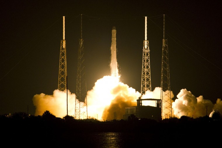 May 22, 2012: The SpaceX Falcon 9 test rocket lifts off from Space Launch Complex 40 at the Cape Canaveral Air Force Station in Cape Canaveral, Florida. The unmanned rocket owned by privately held Space Exploration Technologies blasted off from Cape Canaveral on Tuesday for a mission designed to be the first commercial flight to the International Space Station. The 178-foot (54-meter) tall Falcon 9 rocket lifted off at 3:44 a.m. (0744 GMT) from a refurbished launch pad just south of where NASA launched its now-retired space shuttles. (Michael Brown/Reuters)