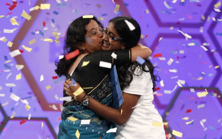 May 31, 2012: Snigdha Nandipati, 14, of San Diego, California, celebrates with her mother after winning the Scripps National Spelling Bee at National Harbor in Maryland. (Kevin Lamarque/Reuters)