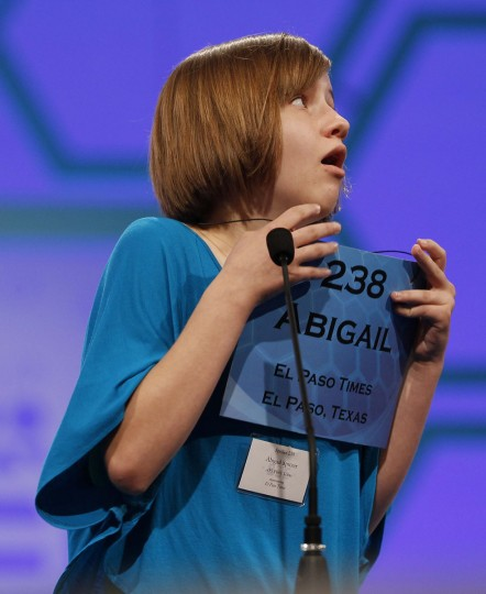 May 31, 2012: Abigail Violet Spitzer of El Paso, Texas celebrates after spelling her word correctly during the Scripps National Spelling Bee semi-finals at National Harbor, Maryland. (Gary Cameron/Reuters)