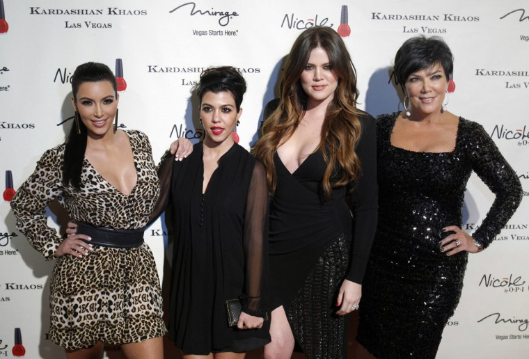 "Kris Jenner costars with her daughters and other family members on the hit E! Entertainment reality show ""Keeping up with the Kardashians."" Pictured: (L-R) Kim Kardashian, Kourtney Kardashian, Khloe Kardashian and Kris Jenner arrive at the grand opening of the Kardashian Khaos store at the Mirage Hotel and Casino in Las Vegas, Nevada on December 15, 2011. (Steve Marcus/Reuters/Las Vegas Sun)"