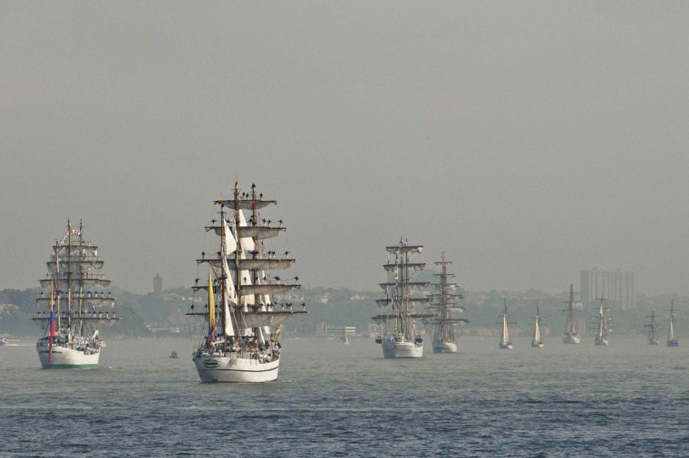 Ships float up the Hudson during the start of Fleet Week in New York May 32, 2012. (Andrew Burton/Reuters)