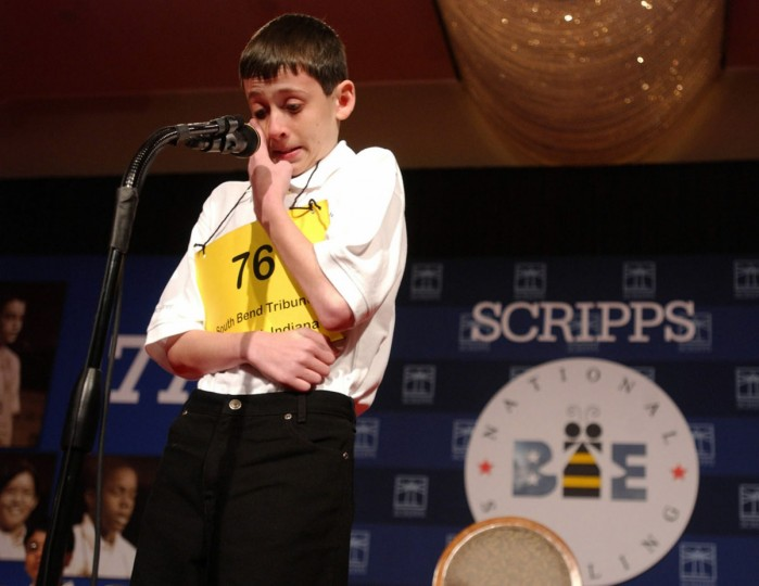 "June 3, 2004: David Tidmarsh, 14, of South Bend, Indiana gets emotional prior to winning the 77th annual National Spelling Bee in Washington D.C. The winning word was ""autochthonous."" (Linda Spillers/AP Photo)"