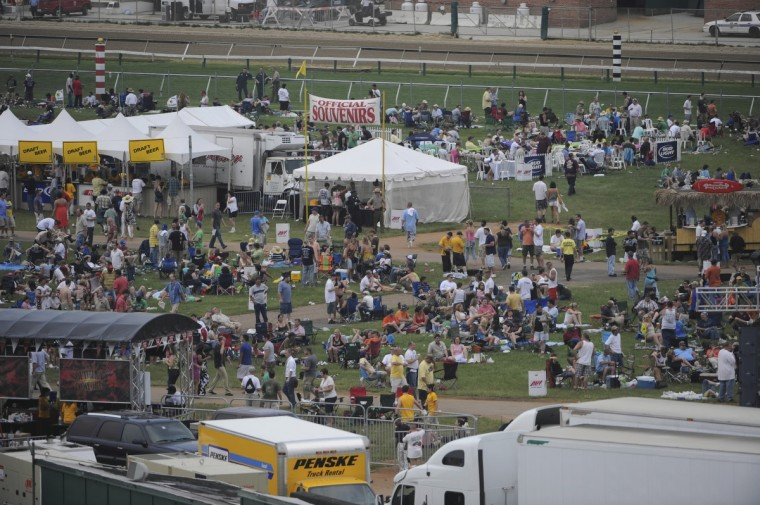 With a new ban on brining in outside alcohol, the infield crowd is sparse 30 minutes before the running 2009 Preakness. (Jerry Jackson/Baltimore Sun)