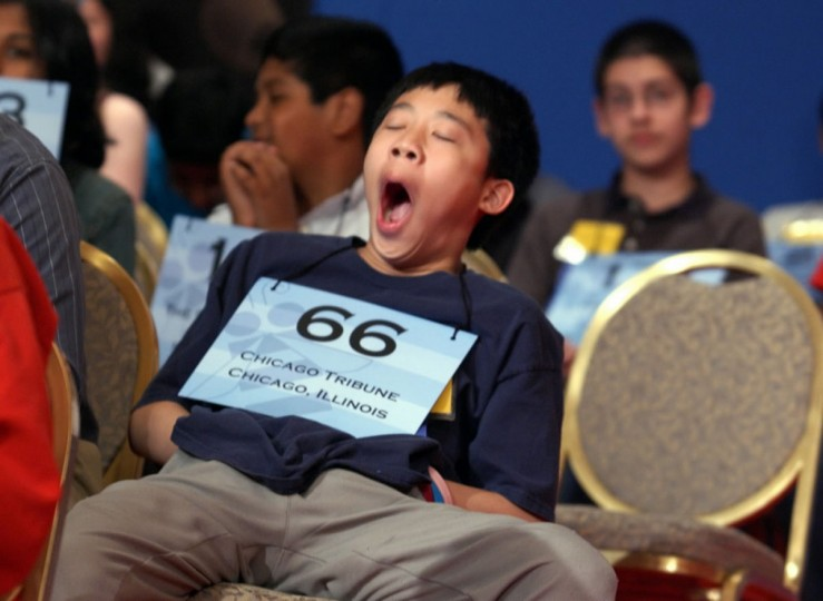 June 1, 2005: Theodore Yuan, 12, of Lincolnshire, Illinois yawns while participating in the 78th annual National Spelling Bee in Washington D.C. (Linda Spillers/AP Photo)