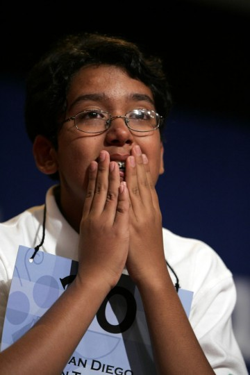 June 2, 2005: Anurag Kashyap, 13, from Meadowbrook Middle School in Poway, California, wins the 78th Scripps Howard National Spelling Bee after spelling appoggiatura correctly in Washington, D.C. Kashyap was sponsored by the San Diego Union-Tribune. (Chuck Kennedy/KRT)