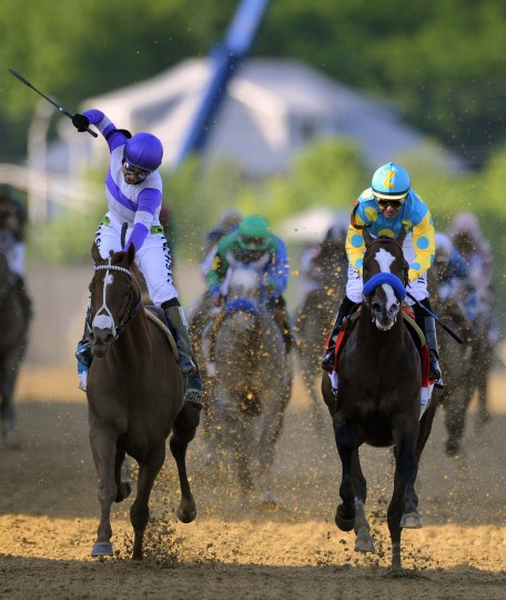 I'll Have Another (L) wins the 137th Preakness as Bodemeister finished second. 137th Preakness at Pimlico Race Track. (Lloyd Fox/Baltimore Sun)