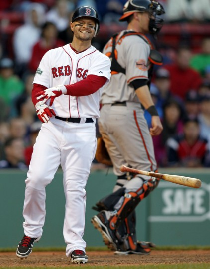 Boston Red Sox left fielder Cody Ross (7) reacts to striking out during the fifteenth inning against the Baltimore Orioles at Fenway Park. (Greg M. Cooper/USPW photo)