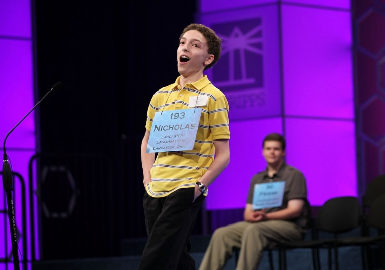 May 31, 2012: Finalist Spelling Bee contestant Nicholas Rushlow of Pickerington, Ohio, reacts after he correctly spelled his word during round 6 of the 84th annual Scripps National Spelling Bee competition at the Gaylord National Resort and Convention Center in National Harbor, Maryland. Nine spellers have advanced to compete in the final of the competition. (Alex Wong/Getty Images)