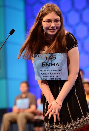 May 31, 2012: Finalist Emma Ciereszynski of Dover, New Hampshire, competes in the semifinals of the 2012 Scripps National Spelling Bee in National Harbor, Maryland. (Chuck Myers/MCT)
