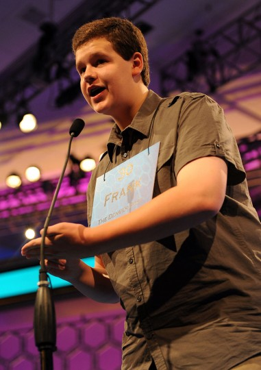 May 31, 2012: Finalist Frank Cahill of Denver, Colorado, competes in the semifinals of the 2012 Scripps National Spelling Bee in National Harbor, Maryland. (Chuck Myers/MCT)