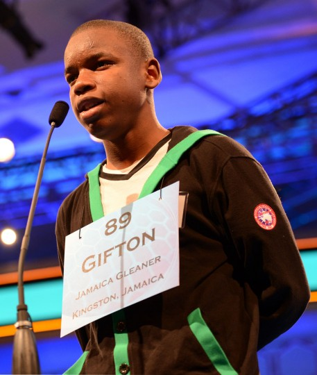 May 31, 2012: Finalist Gifton Samuel Wright of Spanish Town, Jamaica, competes in the semifinals of the 2012 Scripps National Spelling Bee in National Harbor, Maryland. (Chuck Myers/MCT)