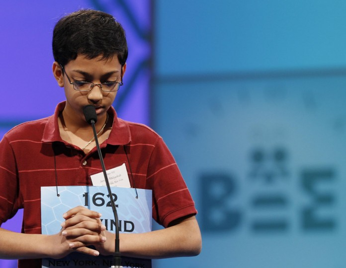 May 31, 2012: Finalist Arvind Mahankali of Bayside Hills, New York struggles with his word during the Scripps National Spelling Bee semi-finals at National Harbor, Maryland. (Gary Cameron/Reuters)