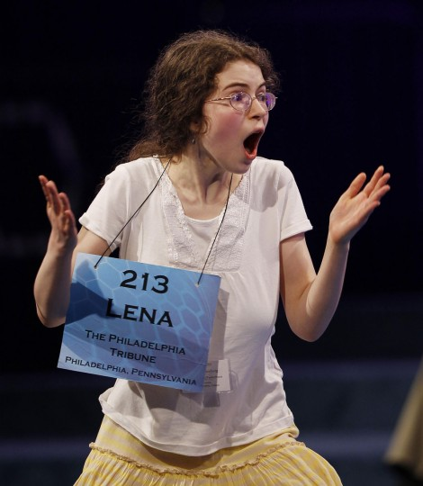 May 31, 2012: Finalist Lena Greenberg of Philadelphia, Pennsylvania celebrates spelling her word correctly, and advancing to the final round, during the Scripps National Spelling Bee semi-finals at National Harbor, Maryland. (Gary Cameron/Reuters)