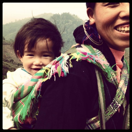 Chi guided the couple for two days over relatively difficult terrain in plastic sandals with her 8-month-old son on her back and the most genuine smile on her face, Scott said. (Credit: Scott and Pam Gorsuch)
