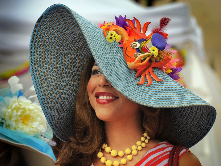 Nikki Bass of Perry Hall waits to participate in the Grand Hat Contest at Baltimore's FlowerMart 2012. Bass won the Best of Baltimore category. (Karl Merton Ferron / Baltimore Sun Staff)