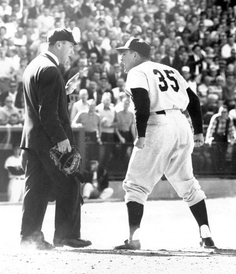 Umpire Cal Drummond and Yankees manager Ralph Houk exchange words during an Orioles game in April 1961. (Joseph A. DiPaola/Baltimore Sun)