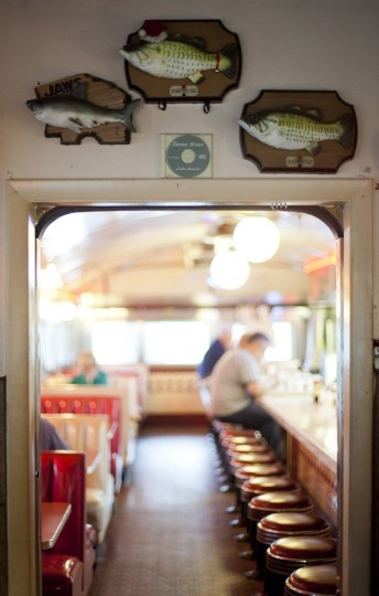 The ecclectic decorations at the Forest Diner include three singing mounted fish. (Sarah Pastrana/Patuxent Homestead)